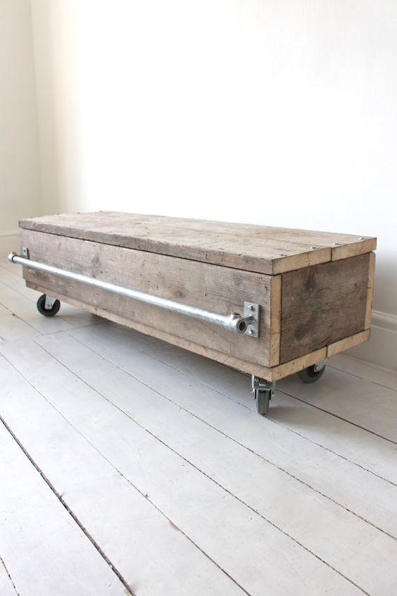 Violet Reclaimed Scaffolding Board Long Low Coffee Table