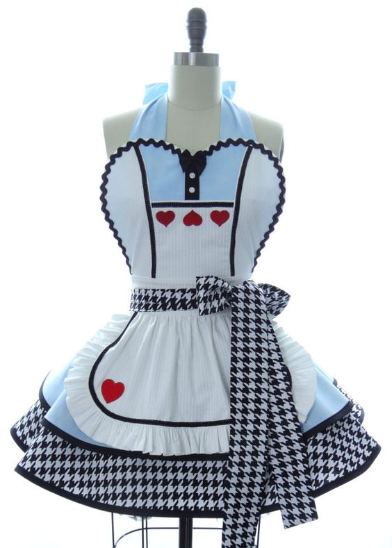 Retro Apron - Alice in Wonderland Sexy Womans Aprons - Vintage Apron Style - Wonderland Pin up Hero Rockabilly Cosplay: