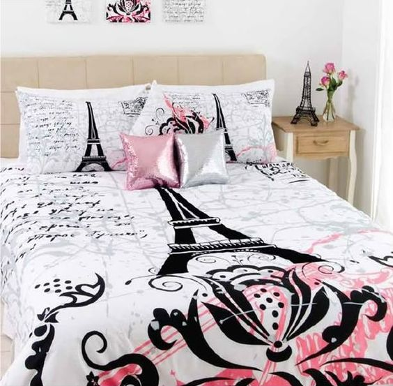 Paris Themed Bedroom Accessories Lighting For Small Bedroom Bedroom Accessories For Guys Bedroom Carpet Trends 2016: Stunning PARIS Eiffel Tower Black Flocking~QUEEN Size