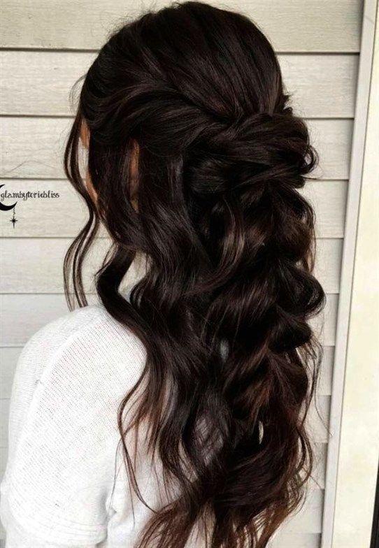 Medium Hair Wedding Styles Wedding Hair Styles Down Short Hair Wedding Styles In 2020 Long Face Hairstyles Wedding Hair Brunette Wedding Hairstyles Half Up Half Down