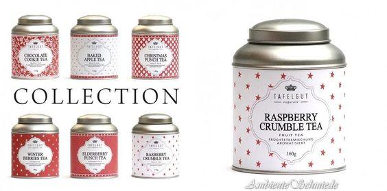 TAFELGUT ★ RASPBERRY CRUMBLE TEA Früchte-Tee Kirsch 130g Sterne-Teedose weiß rot