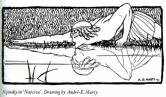 Nijinsky in 'Narcissus' by AE Marty.
