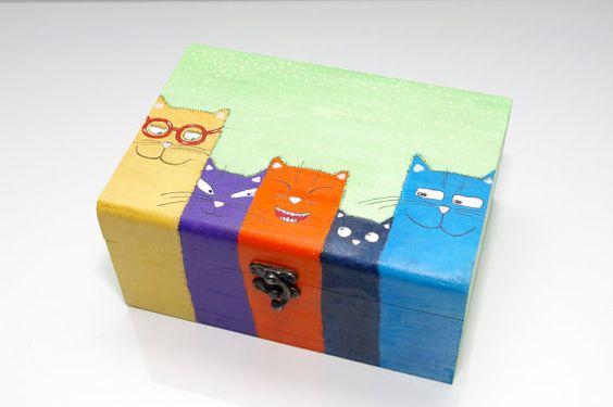 Cat box Hand painted wood box Jewelry box Painted by artbyasta