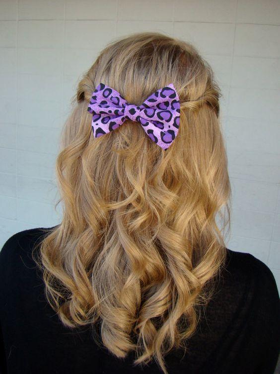 Fabric Hair Bow  Purple Leopard Print Hair by RockaBeautyBoutique, $5.59