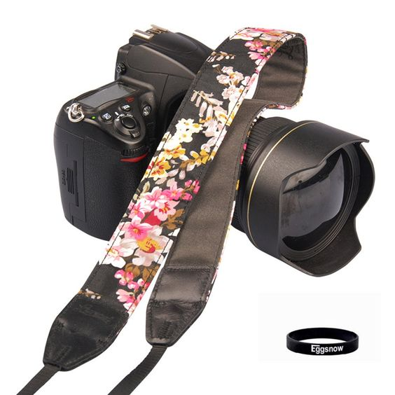 Eggsnow Schultergurt/Tragegurt für SLR / DSLR-Kameras,Blumenmuster,Lila hellblau: Amazon.de: Kamera