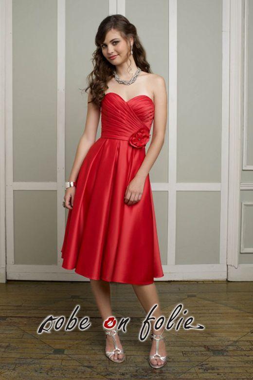 belle robe de soir e courte en satin rouge bustier pliss. Black Bedroom Furniture Sets. Home Design Ideas