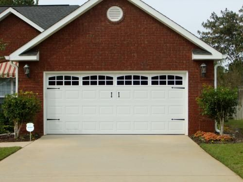 These are fake windows and hardware on a plain white for How big is a double garage door