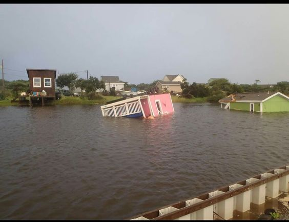 Hatteras Island village flooding, Sept 3 2016 Hermine