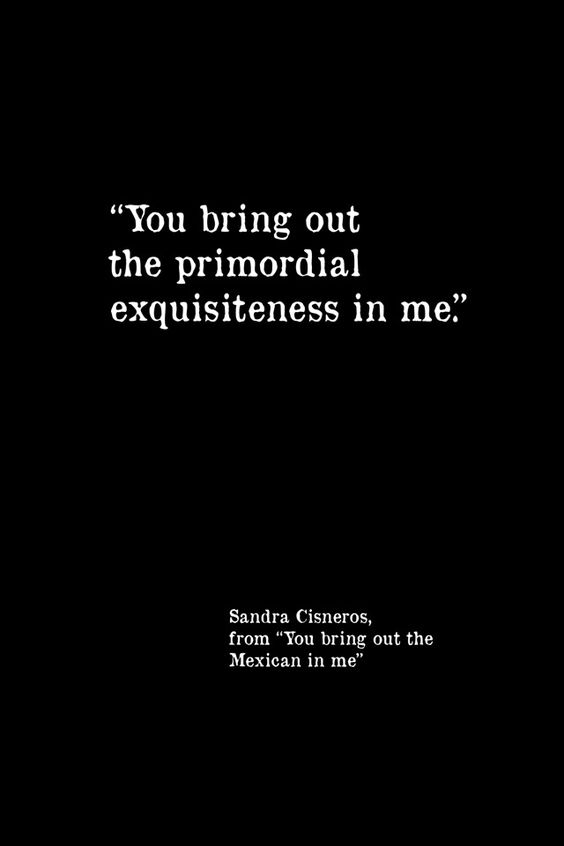 """""""You bring out the primordial exquisiteness in me"""" -Sandra Cisneros"""