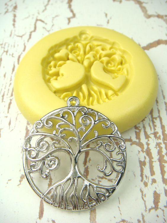 Arbol De La Vida Con Fianza Molde De Silicona Flexible Por Molds Molding Clay Polymer Clay Mold Clay