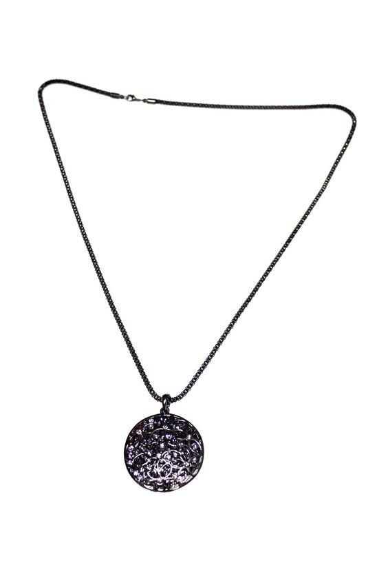 Purple Web Gunmetal Polish Fashion Necklace