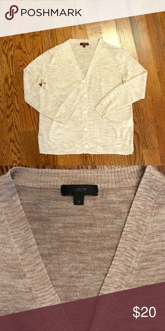 J Crew shimmer cardigan J Crew cardigan with a delicate shimmer. Very gently warn. J. Crew Sweaters Cardigans