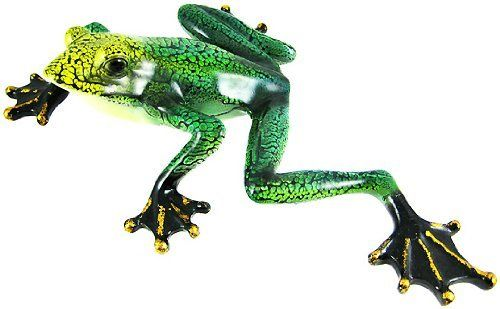 Large Green & Yellow Frog Wall Hanging Statue by Private Label. $22.99. This wonderful wall hanging or statue features a green and yellow frog casting a look to the side while climbing the wall. The figurine measures 14 inches tall, 9 inches wide and about 2 3/4 inches thick. He has metallic gold accents on his toes, and glossy black eyes and feet. The piece can be hung on the wall or used as a table or shelf decoration. He makes a great gift for gecko or lizard fans.