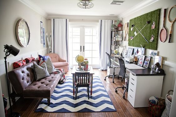 Vintage-inspired boys study and playroom with Americana accents