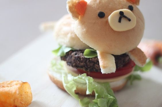It's not meat but tastes like it is! Enjoy the most tastiest veggie burger with Rilakkuma on top!