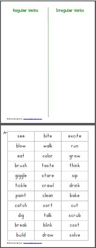 Past Tense: Sort Reg/Irregular Verbs