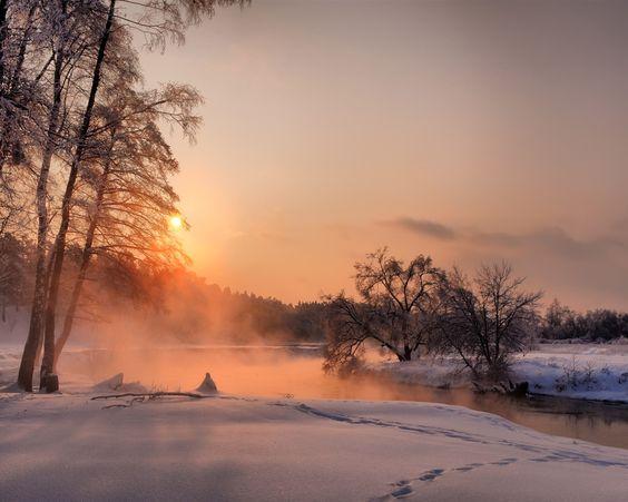 Soir e arbres coucher de soleil l 39 hiver rivi re fonds - Heure lever coucher soleil belgique ...