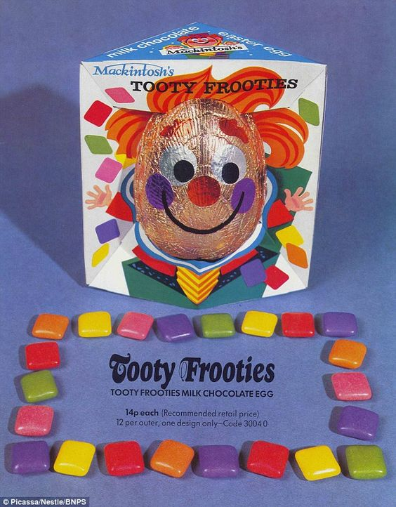 Who knew? Chewy sweets, Tooty Frooties, used to release Easter Eggs. This advert dates back to 1972