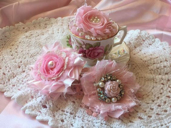 Shabby Chic handmade fabric flowers, vintage doilies, rosettes.