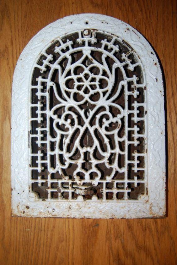 Vintage Antique Cast Iron Floor Grate Ornate Design Heat