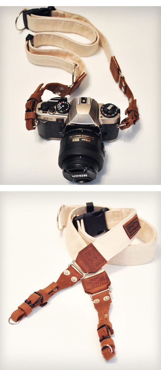 Leather & Canvas Camera Strap. I need a cute one!