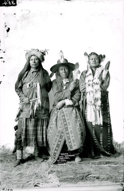 "My novel ""Promise"" leads to an awareness of this. Saponowox, Yakima Indian, with two sons, c. 1910."