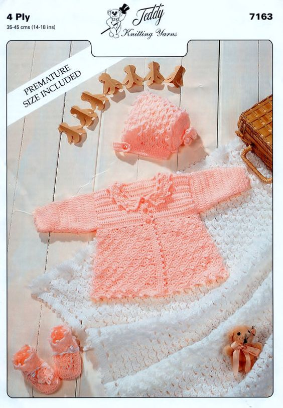 Baby Pattern Matinee Set and  Shawl 14 - 18 ins - PDF of Vintage Crochet Baby Pattern