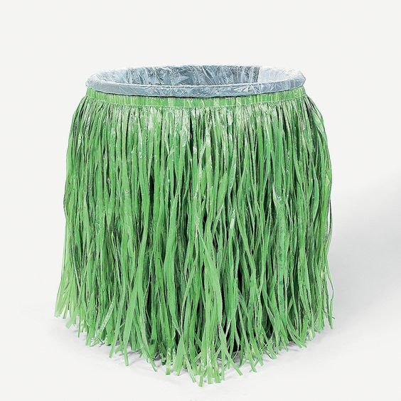 """Hula Skirt Trash Can Cover - OrientalTrading.com  Dress up a standard trash can for a tropical luau buffet, fiesta or barbecue with this plastic decoration cover! It's an easy yet fun decoration idea! Includes elastic at top and bottom for a secure fit. 32"""" x 27"""" $5.50 Each  http://www.orientaltrading.com/hula-skirt-trash-can-cover-a2-34_1738.fltr?prodCatId=551690"""
