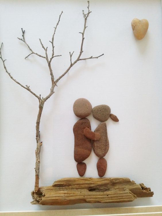 Couple in Love, pebble art, beach stone art, driftwood, wedding gift ...