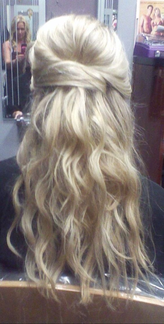 Wedding, Human hair extensions and Wedding hair half on ...