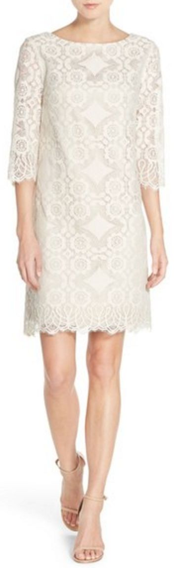 White Lace 3/4 Sleeve Shift Dress