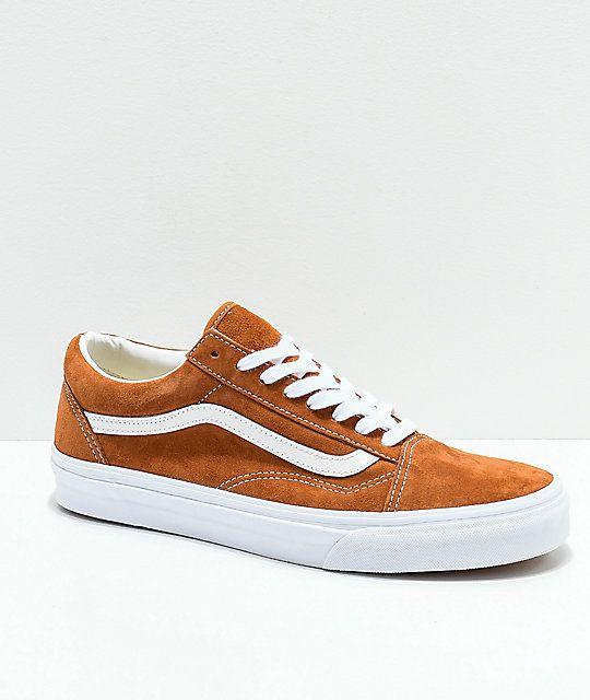 Vans Old Skool Brown Pig Suede Skate Shoes | Mens vans shoes ...