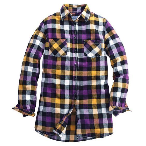 Fall LSU tailgating! Cecelia Plaid Flannel Shirt (Women) Yellow/Purple: