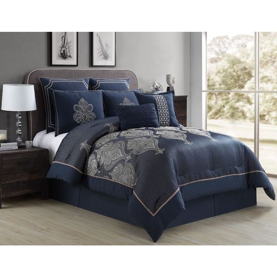 8 Homey Bedroom Ideas That Will Match Your Style: VCNY Marlene 8 Piece Navy/Taupe Comforter Set By VCNY