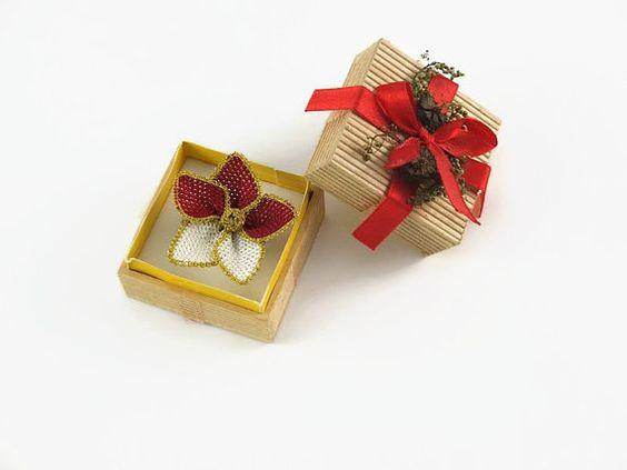 Maroon and Cream Crochet Flower Ring Adjustable Ring  by Nakkashe