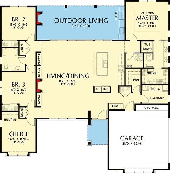 Plan 69603AM 3 Bed Modern Prairie Ranch House Plan