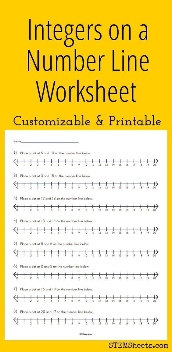 Integers on a Number Line Worksheet Customizable and Printable – Number Line Math Worksheets