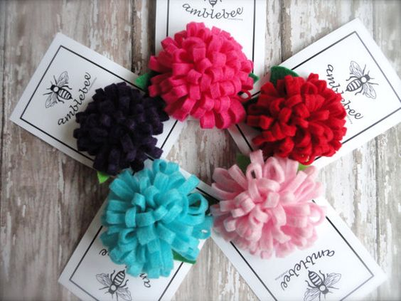 Felt Flower Pom Pom Hair Clip or Brooch You Choose The by amblebee