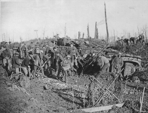 WW1, Battle of the Somme; Men attempting to build/repair a road. -Sandra…