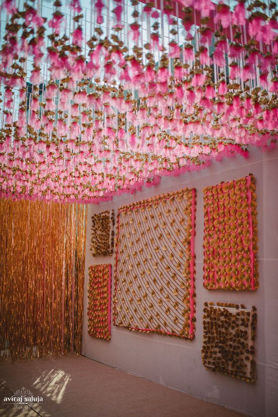 Stunning Ceiling Decor Ideas You Can Steal For Your Wedding!| Best site to plan a modern Indian wedding | function Mania | pink and gota ceiling decor | wedding decor ideas | Orange and Pink decor ideas | Sangeet and Mehendi Decor ideas