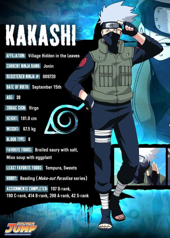 Kakashi character info. His birthday is the closest to mine :) and we have the same blood type haha #fangirl                                                                                                                                                     More