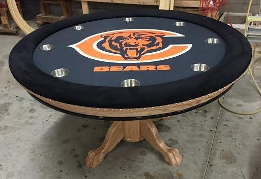 Chicago Bears Round Custom Poker Table Poker Table Custom Poker Tables Round Poker Table