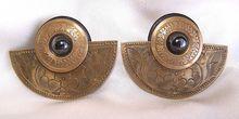 Vintage Ornate Brass Hematite Layered Pierced Earrings