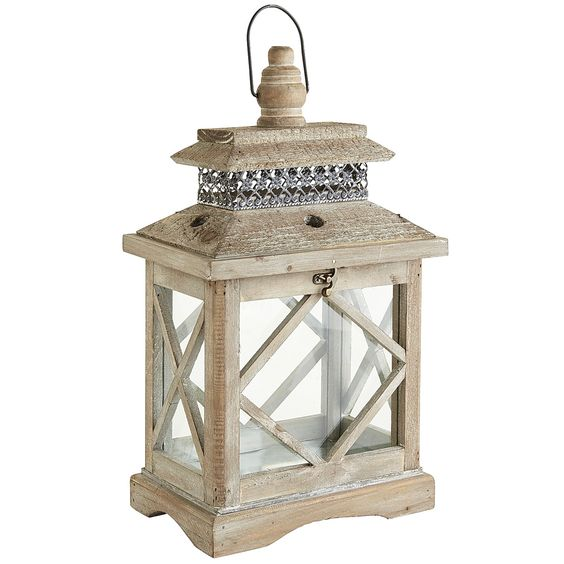 Wooden Lantern - Gray Small