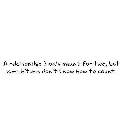 a relationship is only meant for two, but some bitches don't know how to count.