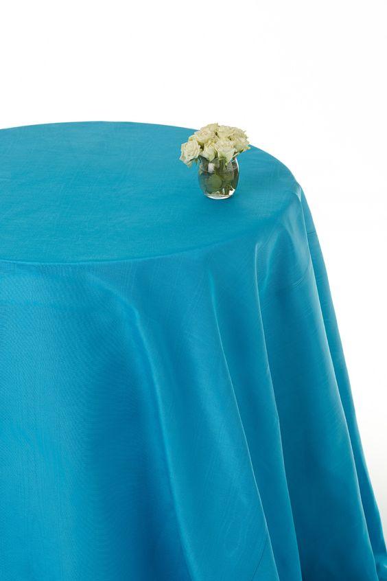 Aqua moire round table cloths  #blue table round cloths #table linen hire  www.decorit.com.au