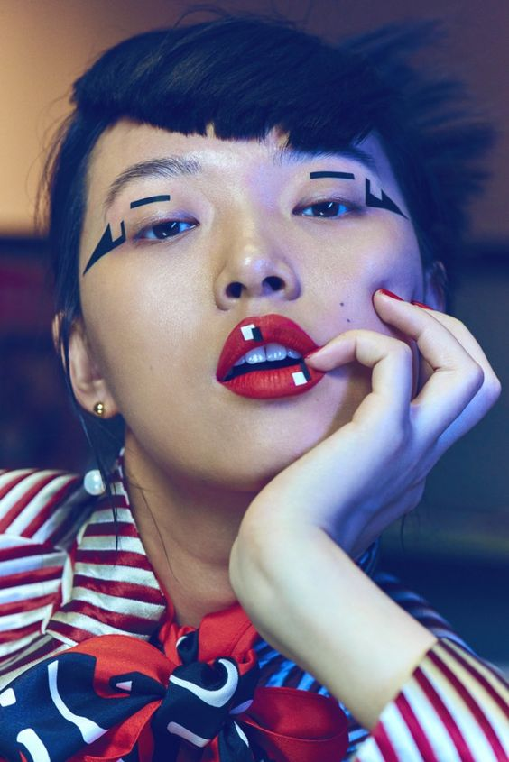 Tian Yi captured by Jem Mitchell for Vogue China. MUA Polly Osmond makes geometry appealing to all - who knew that was possible?