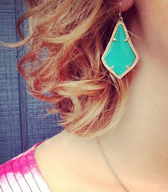 Turquoise and Gold , Large Arabesque Tear Drop Earrings