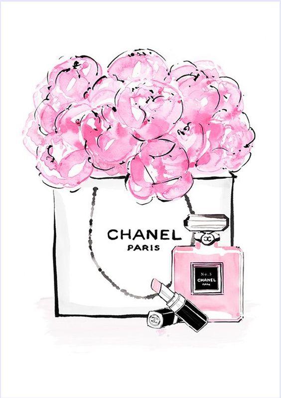Imagens para quadrinhos - poster para imprimir - batom-perfume- chanel - rosa -Blog Dikas e diy: