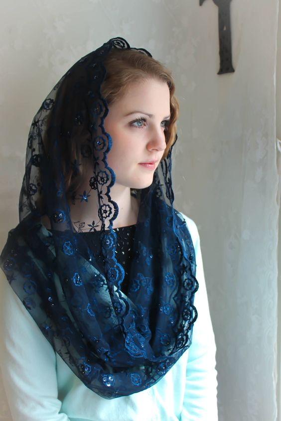 LAST ONE IN NAVY BLUE A unique, handmade veil in several color options: Navy blue, Light rose, Ivory/gold accents , Marian blue, Black, Dark Rose,and Mist green. Lovely, very soft embroidered floral lace infinity veil features scalloped lace edge and hand-beaded sequin work scattered on the sh